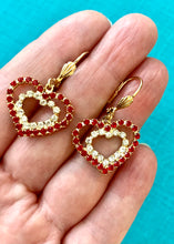 Load image into Gallery viewer, Vintage Red Rhinestone Heart Dangle Earrings