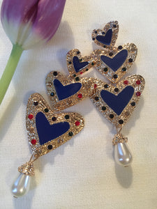 Blue Enamel Rainbow Heart Dangle Runway Earrings