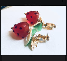 Load image into Gallery viewer, Darling Strawberry Dangles, 90s Glam Earrings