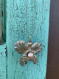 Gay Isber Art Nouveau Pearl Flower Pendant Necklace, Signed One of a Kind Designer Jewelry