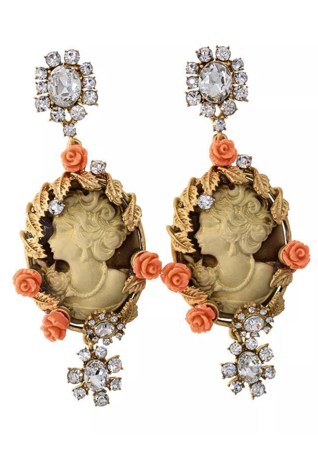 Exquisite Big Baroque Glam Cameo Dangle Earrings~