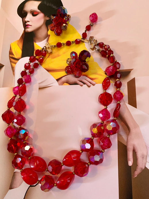 Vintage Hattie Carnegie Cherry Red & Crystal Beaded Necklace and Earrings, Cocktail Party Jewelry Set