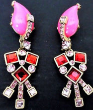 Load image into Gallery viewer, MySoulRepair OSCAR DELA RENTA Contemporary Gothic Art Deco Hot Pink & Red Runway Statement Earrings