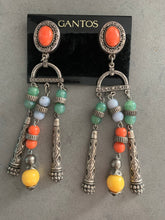 Load image into Gallery viewer, Gantos Boho Shoulder Duster Statement Earrings, Long Runway Style Boho Beaded Dangles