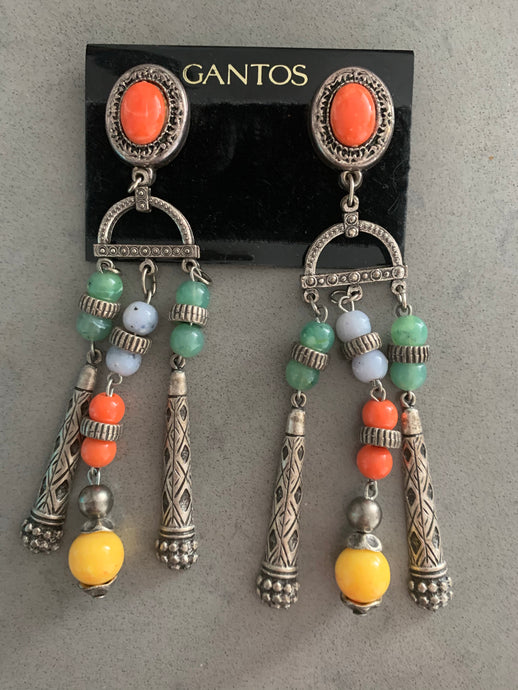 Gantos Boho Shoulder Duster Statement Earrings, Long Runway Style Boho Beaded Dangles