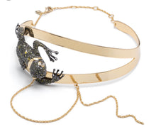 Load image into Gallery viewer, Alexis Bittar Crystal Encrusted Frog Choker With Drippy Chains