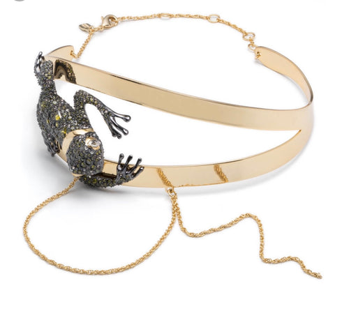 Alexis Bittar Crystal Encrusted Frog Choker With Drippy Chains