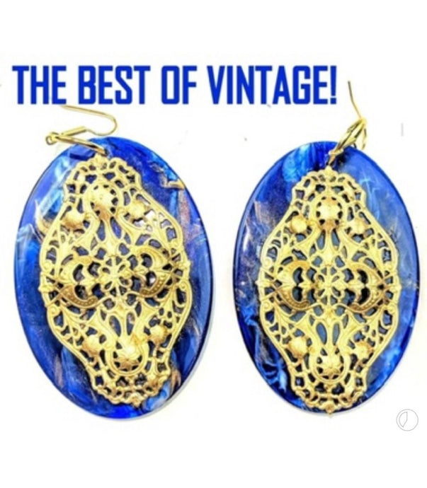 Gay Isber High Fashion Runway Earrings, Huge Cobalt Blue Marble Lucite Shields with Russian Filigree Overlays- Gorgeous!