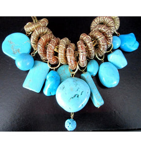 Gay Isber  Designer Genuine Turquoise Stone Statement Necklace
