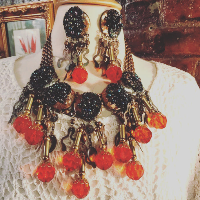 Firey Cherry Lucite Huge Abstract Modern Big Boho Bling Sexy Runway Bronze tone Necklace & Earring Set, Vintage 80s