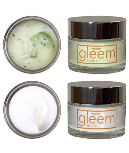 Gleem Beauty Organic Aloe Skin Care, Dynamic Duo: Rxfoliant and Calming Moisturizer