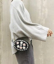 Load image into Gallery viewer, Tweed and Floral Cross Body Bag with Bling Chain Strap, Super Cute