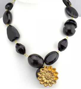 Gay Isber Chunky Black Beads with Golden Flower Statement Necklace, Runway Designer Glamour Jewelry