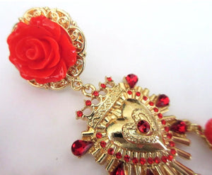 Sicily Red Camellia Flower Golden Heart & Creamy Pearl Earrings ,Frida Kahlo Style