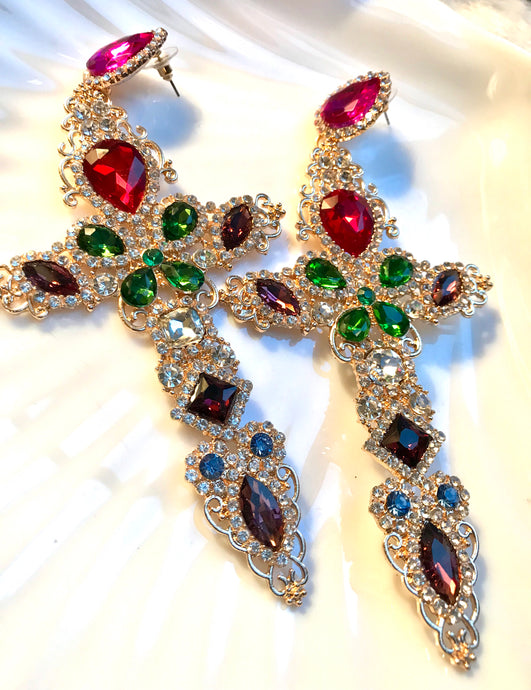 MySoulRepair HUGE Rainbow Colorful Rhinestone Cross Dangle Earrings
