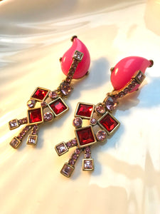 MySoulRepair OSCAR DELA RENTA Contemporary Gothic Art Deco Hot Pink & Red Runway Statement Earrings