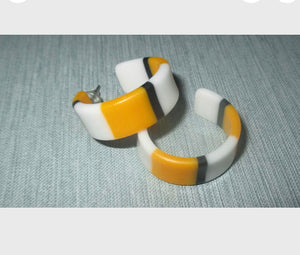 Vintage Mod Striped Hoops, 80s New Wave Earrings, 2 pairs Yellow and Blue