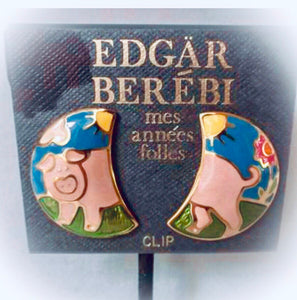 Vintage Signed Designer Edgar Berebi Enamel Pig Earrings