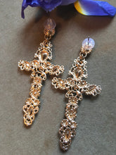 Load image into Gallery viewer, Gothic Black Rhinestone and Golden Cross Statement Earrings