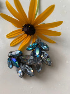 Vintage Juliana Aqua Blue Rhinestone Earrings