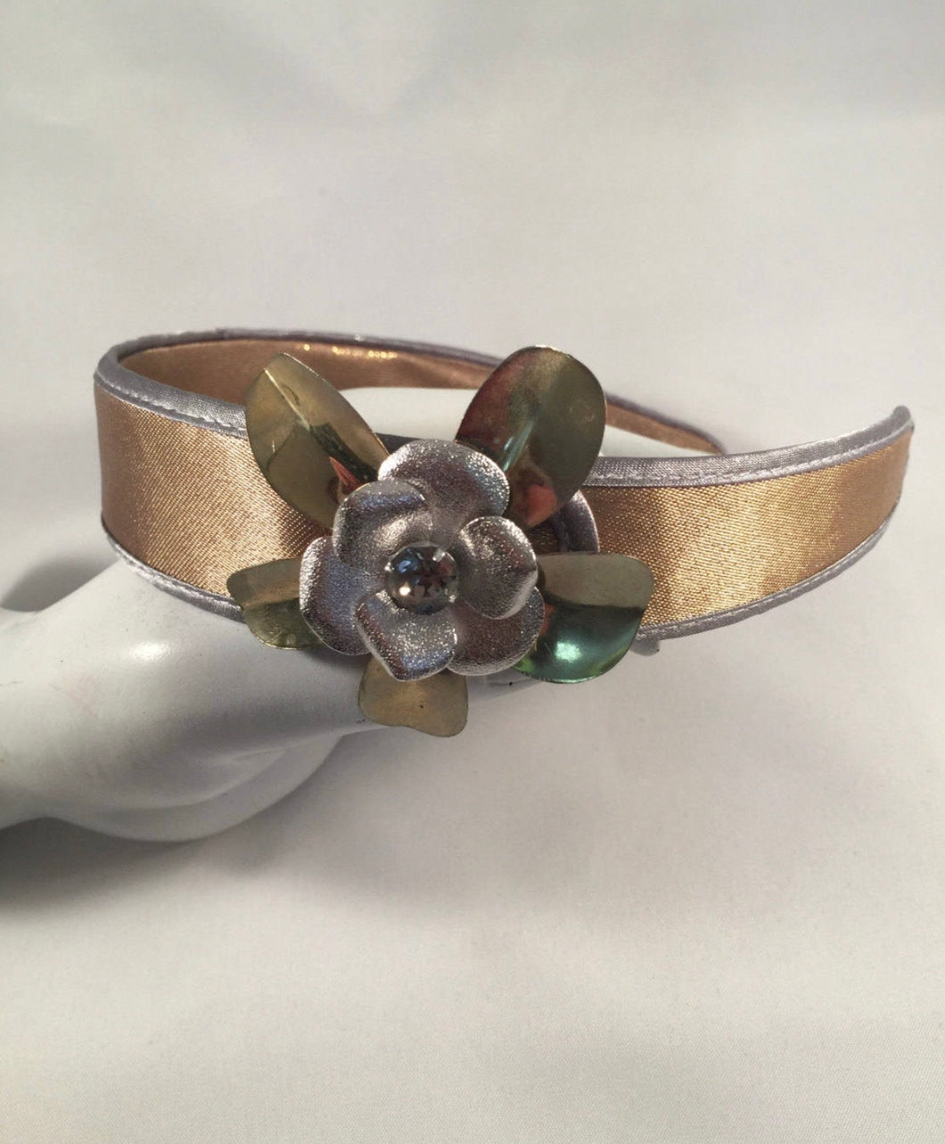 Golden Taupe Satin & Vintage Jewelry Luna Vintage Designs Headband