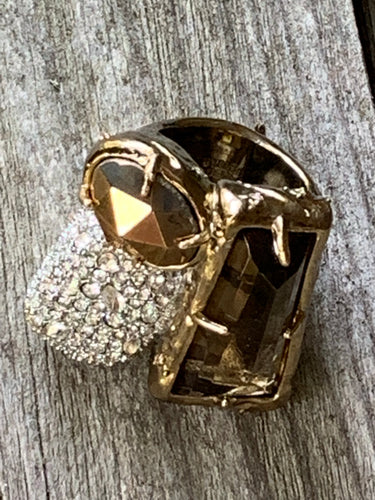 Alexis Bittar Gothic Modernist Cocktail Ring, Chunky Bronze Gem Make a Statement Designer Bling Ring