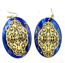 Load image into Gallery viewer, Gay Isber High Fashion Runway Earrings, Huge Cobalt Blue Marble Lucite Shields with Russian Filigree Overlays- Gorgeous!