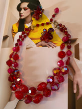 Load image into Gallery viewer, Vintage Hattie Carnegie Cherry Red Crystal Beaded Necklace and Earrings