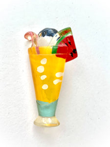 80s Summer Cocktail Lucite Pin, Festive Tropical Fruit Drink Brooch, Trendy 80s Collectible Glam Jewelry