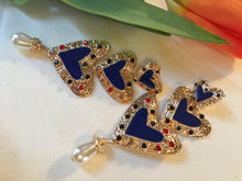 Load image into Gallery viewer, Blue Enamel Rainbow Heart Dangle Runway Earrings