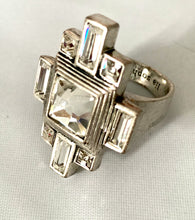 Load image into Gallery viewer, Etruscan Art Deco Style Ice Crystal Cocktail Ring Bling Ring