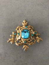 Load image into Gallery viewer, Coro Coronation Vintage Brooch with Dazzling Aqua Rhinestones