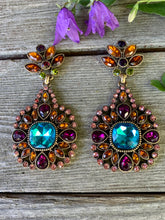 Load image into Gallery viewer, Regal Aqua Blue Gem Gothic Statement Earrings with a Rainbow of Jewel Tone Rhinestone accents