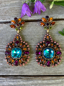 Regal Aqua Blue Gem Gothic Statement Earrings with a Rainbow of Jewel Tone Rhinestone accents