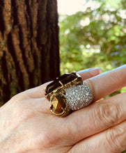 Load image into Gallery viewer, Alexis Bittar Gothic Modernist Cocktail Ring, Chunky Bronze Gem Make a Statement Designer Bling Ring