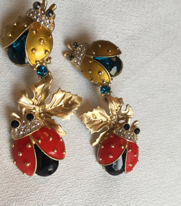 Darling Enamel Ladybug Dangles, Runway Glamour Statement Earrings