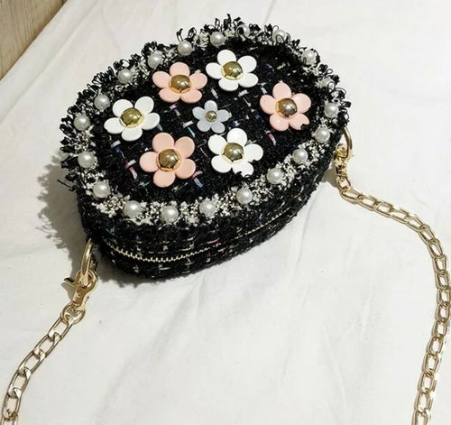 Tweed and Floral Cross Body Bag with Bling Chain Strap, Super Cute