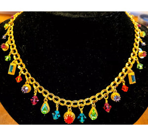 ZANDER ELLIOTT LATR Rainbow Gem Charm Choker Necklace