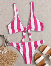 Load image into Gallery viewer, Hot Pink and White Striped Front Tie Bikini
