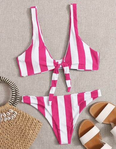 Hot Pink and White Striped Front Tie Bikini