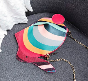 Rainbow Bunny Rabbit Cross Body Bag Handbag Purse