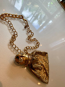 Gay Isber Runway Designer Gold Mesh Stash Bag Statement Necklace