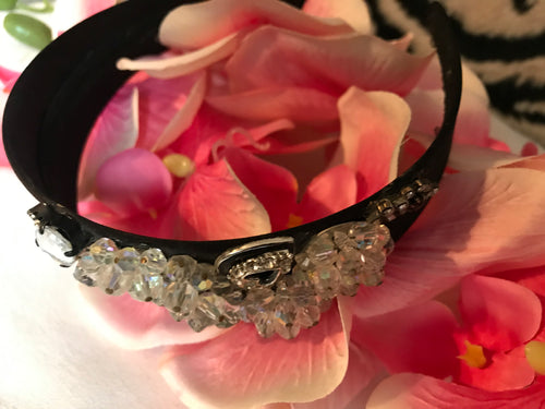 Black Satin Embellished Headband Hair Accessory