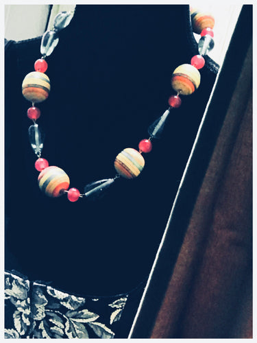 Gay Isber Melon Rainbow Boho Glam Art Beaded Necklace