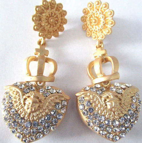 Matte Golden Cherub Angel Heart Ice Crystal Earrings!