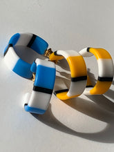 Load image into Gallery viewer, Vintage Mod Striped Hoops, 80s New Wave Earrings, 2 pairs Yellow and Blue