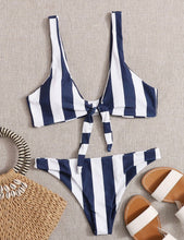 Load image into Gallery viewer, Navy and White Striped Front Tie Bikini