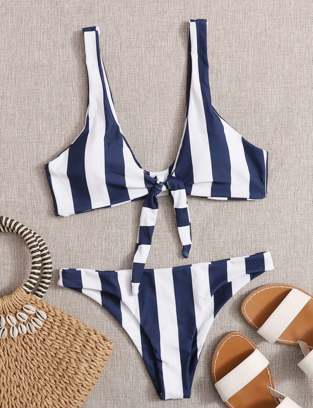 Navy and White Striped Front Tie Bikini