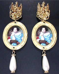 Victorian Glam Portrait Scenic Cameo Pearl Drop Earrings