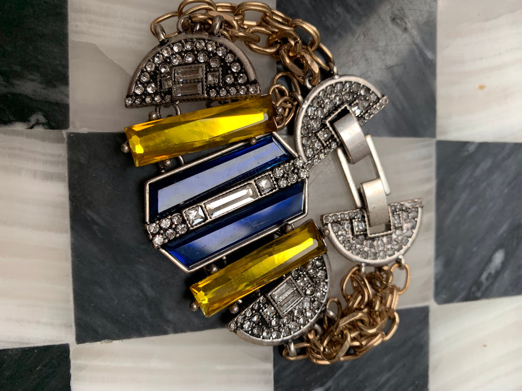 Blue and Yellow Art Deco Revival Statement Bracelet